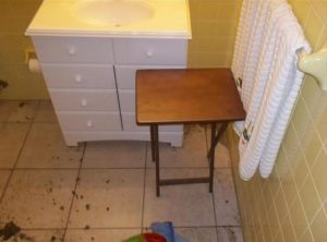 water damage bathroom before