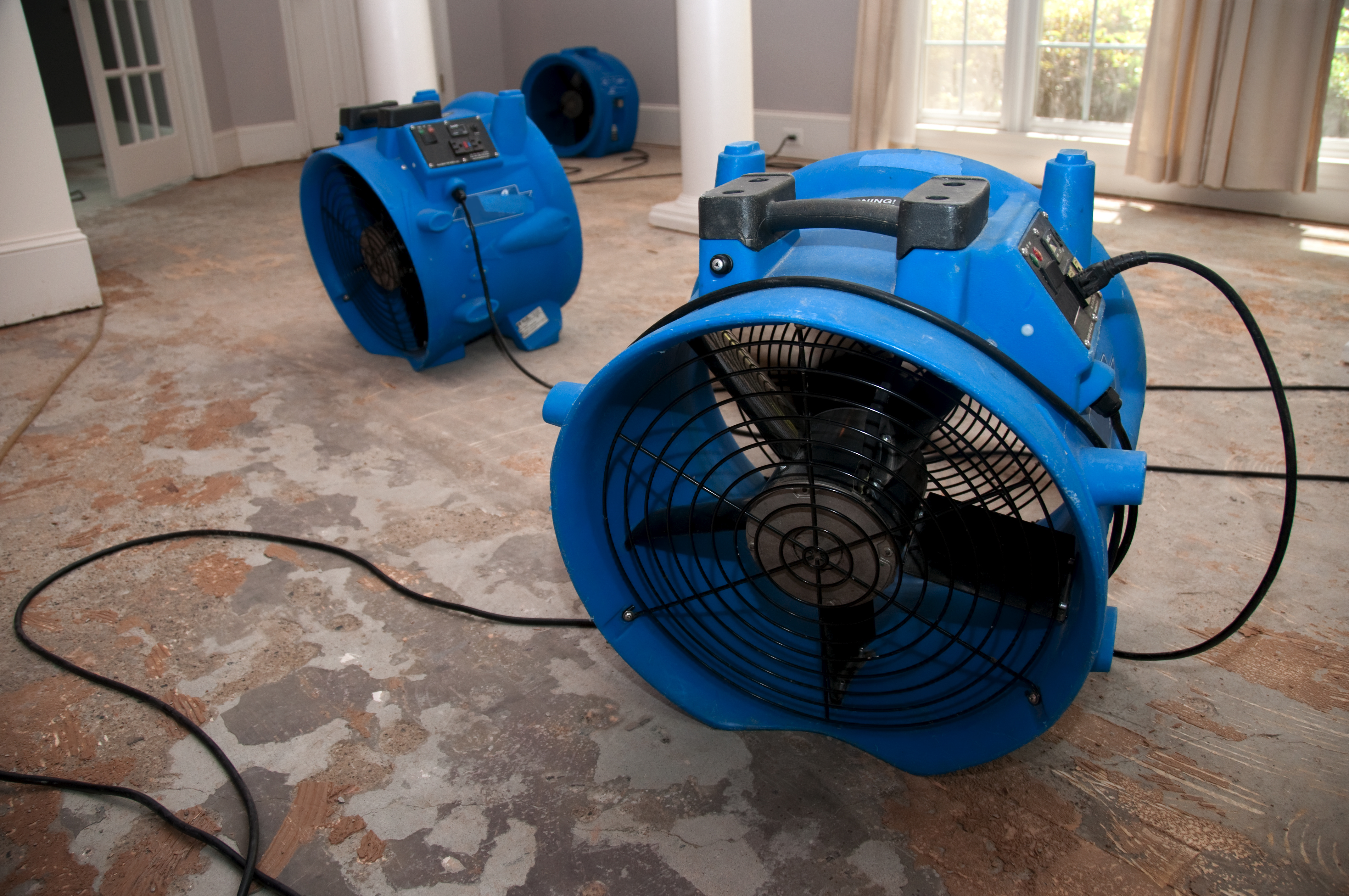 Dehumidification and blowers for proper water removal